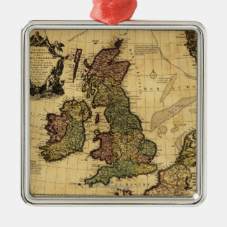 Great BritainPanoramic MapGreat Britain Silver-Colored Square Decoration