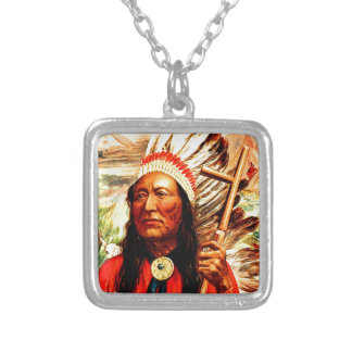 """""""Great Chief"""" Indian warrior leader & peace pipe Square Pendant Necklace"""