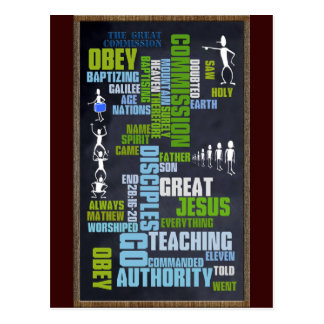 Great Commission Mathew 28 Chalkboard Post Card
