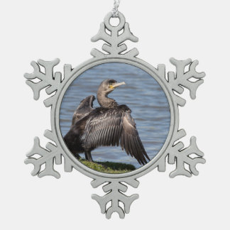 Great Cormorant Snowflake Pewter Christmas Ornament