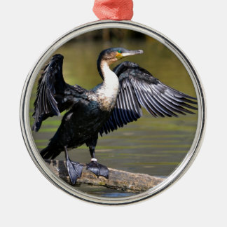 Great Cormorant with opened wings Round Metal Christmas Ornament