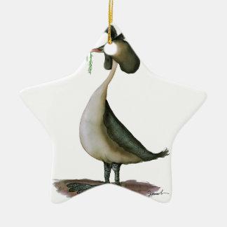 great crested grebe wild bird, tony fernandes ceramic star decoration