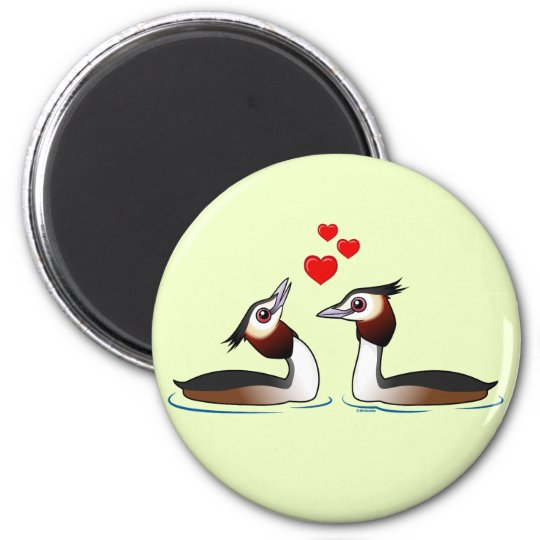 Great Crested Grebes in Love 6 Cm Round Magnet