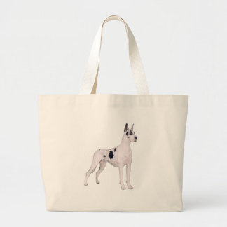 Great Dane (A) - Harlequin standing Large Tote Bag