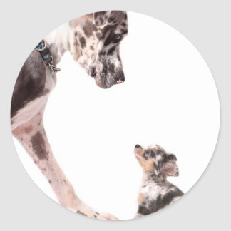 Great Dane and chihuahua Round Stickers