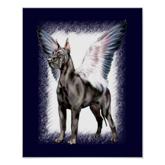 Great Dane Angel Black Poster