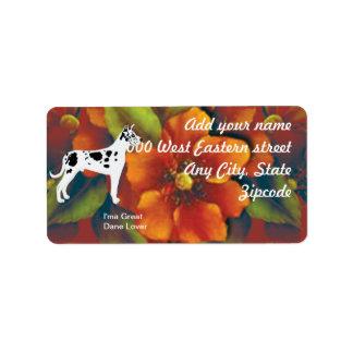 Great Dane - Autumn Floral Design Address Label