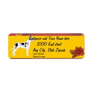 Great Dane - Autumn Floral Design Return Address Label