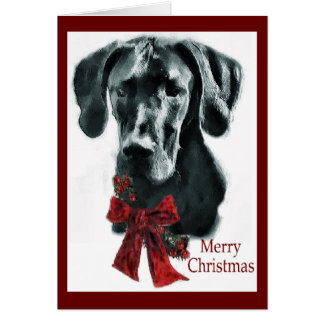 Great Dane Black Christmas Gifts Card