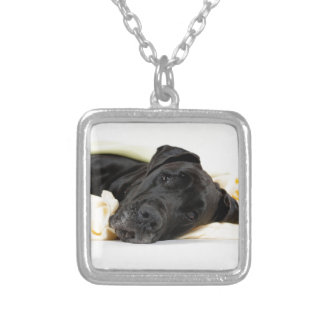 Great dane - black/German Dogge - black Silver Plated Necklace