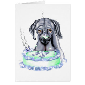 Great Dane Blue UC Birthday Cake Face Card