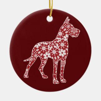 Great Dane, Boho Christmas Snowflakes Round Ceramic Decoration