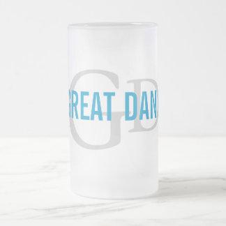 Great Dane Breed Monogram Design Frosted Glass Mug