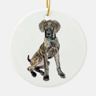 Great Dane Brindle Puppy Round Ceramic Decoration