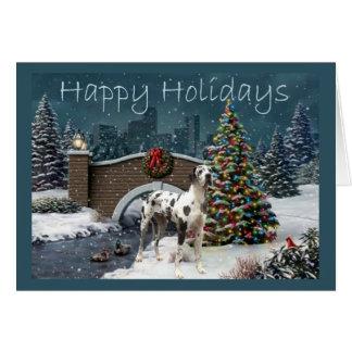 Great Dane Christmas Card Evening