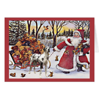 Great Dane Christmas Card Santa Bears