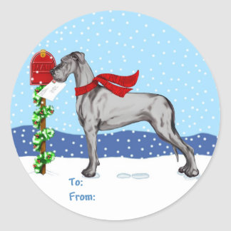 Great Dane Christmas Mail Black UC Gift Tags
