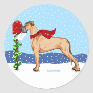 Great Dane Christmas Mail Fawn UC Classic Round Sticker