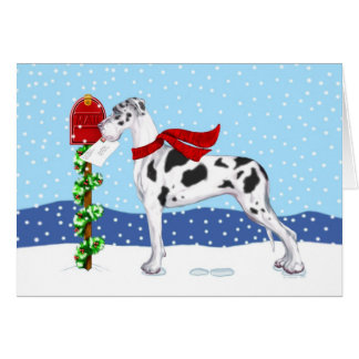 Great Dane Christmas Mail Harlequin UC Card