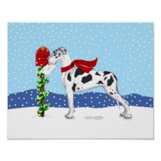 Great Dane Christmas Mail Harlequin UC Poster