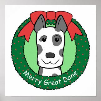 Great Dane Christmas Print