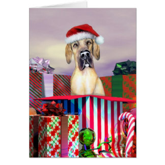 Great Dane Christmas Surprise Fawn UC Card