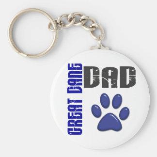 GREAT DANE DAD Paw Print 2 Basic Round Button Key Ring