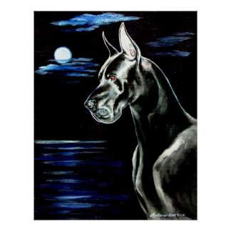 Great Dane - Dark Moon Print