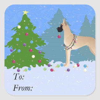 Great Dane Decorating a Christmas Tree in forest Square Sticker