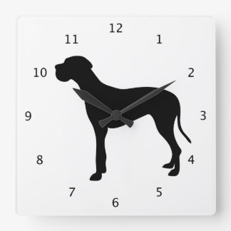 Great Dane dog black beautiful silhouette Square Wall Clock