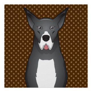 Great Dane Dog Cartoon Paws Posters