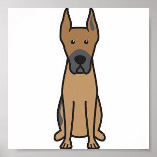 Great Dane Dog Cartoon Poster