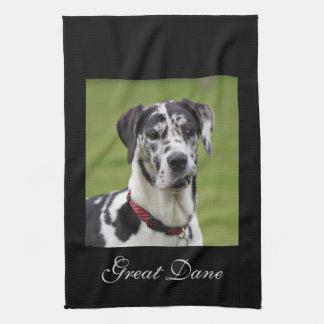 Great Dane dog harlequin beautiful photo Tea Towel