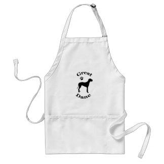 great dane dog pawprint silhouette apron