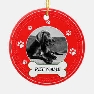 Great Dane Dog Red Paws Print Ceramic Ornament