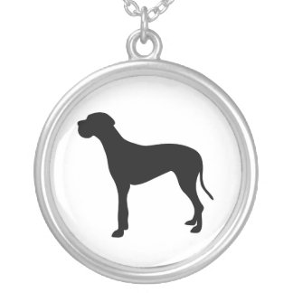 Great Dane dog silhouette necklace