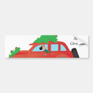 Great Dane driving car with Christmas tree on top Bumper Sticker