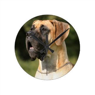 Great dane - fawn/German Dogge - yellow Round Clock