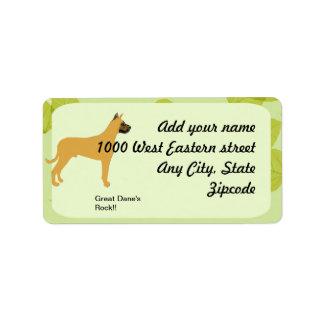 Great Dane - Green Leaf Design Address Label