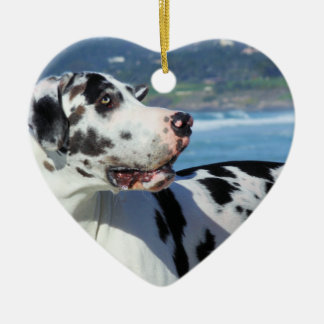 Great Dane - Harlequin - Bogey Ceramic Heart Decoration