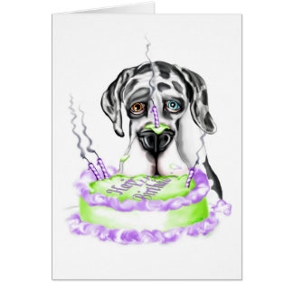 Great Dane Harlequin UC Birthday Cake Card