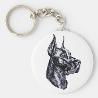 Great Dane Head Study Black Key Ring