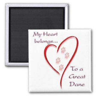 Great Dane Heart Belongs Fridge Magnets