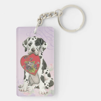 Great Dane Heart Mom Double-Sided Rectangular Acrylic Key Ring