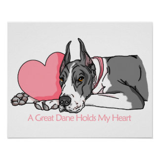 Great Dane Holds Heart Mantle Poster