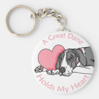 Great Dane Holds Heart Mantle UC Basic Round Button Key Ring