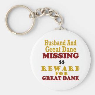 Great Dane & Husband Missing Reward For Great Dane Basic Round Button Key Ring