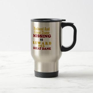 Great Dane & Husband Missing Reward For Great Dane Travel Mug