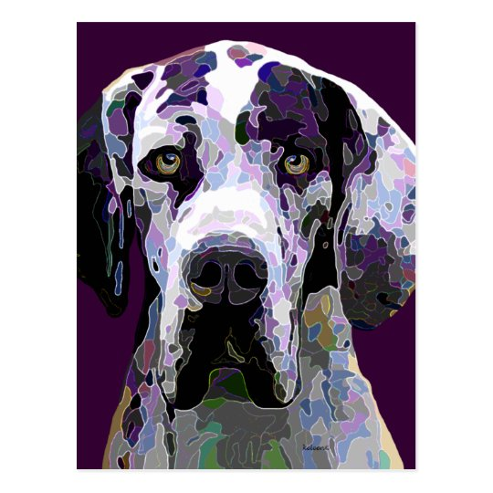 Great Dane in Dazzling Colours Post Card