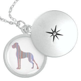 Great Dane in Pastel Colors Round Locket Necklace
